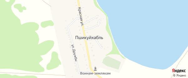 Переулок Красный 2 на карте аула Пшикуйхабль Адыгеи с номерами домов