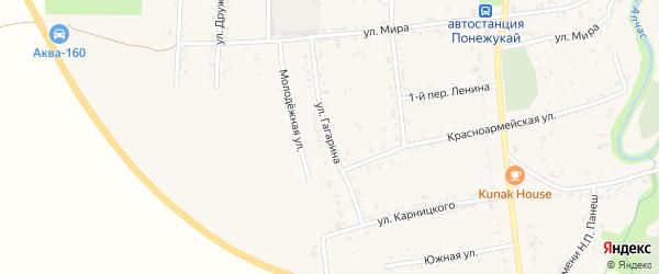 Улица Гагарина на карте аула Понежукай Адыгеи с номерами домов