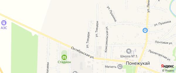 Улица им Т.А.Тлецери на карте аула Понежукай Адыгеи с номерами домов