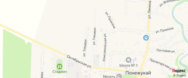 Аэродромная улица на карте аула Понежукай Адыгеи с номерами домов