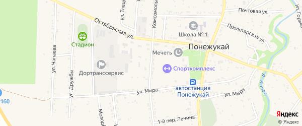 Комсомольская улица на карте аула Понежукай Адыгеи с номерами домов