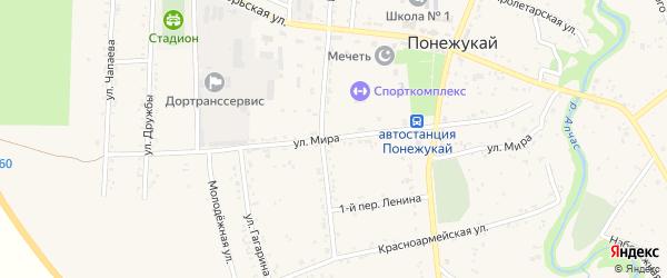 Улица Мира на карте аула Понежукай Адыгеи с номерами домов