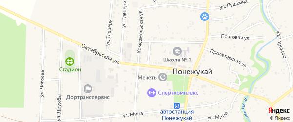 Переулок Октябрьский 1 на карте аула Понежукай Адыгеи с номерами домов