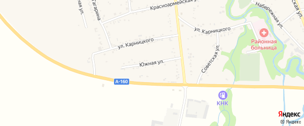 Южная улица на карте аула Понежукай Адыгеи с номерами домов