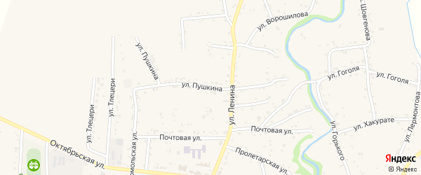 Улица Пушкина на карте аула Понежукай Адыгеи с номерами домов