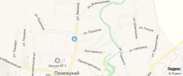 Переулок Ленина 1 на карте аула Понежукай Адыгеи с номерами домов