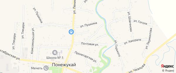 Переулок Почтовый 2 на карте аула Понежукай Адыгеи с номерами домов