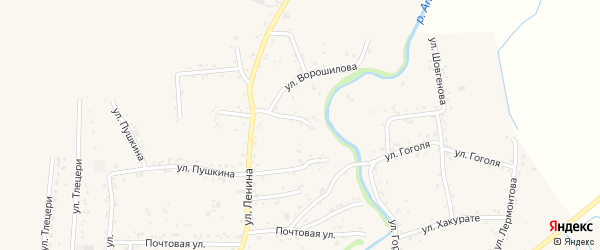 Переулок Ленина 4 на карте аула Понежукай Адыгеи с номерами домов
