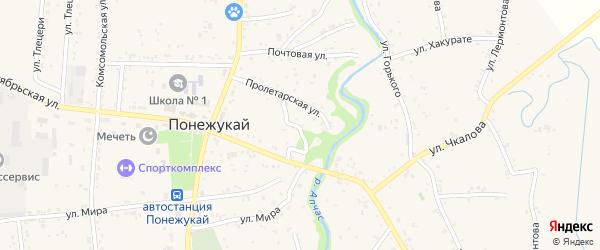 Переулок Пролетарский 1 на карте аула Понежукай Адыгеи с номерами домов