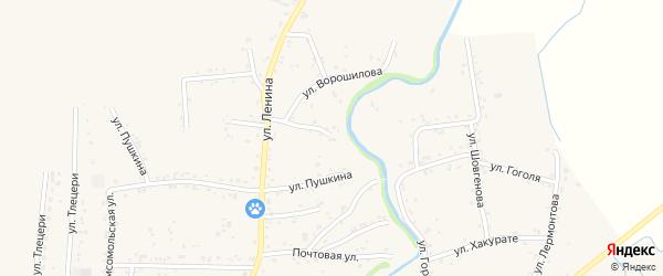 Переулок Ленина 6 на карте аула Понежукай Адыгеи с номерами домов