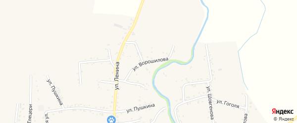 Улица Ворошилова на карте аула Понежукай Адыгеи с номерами домов