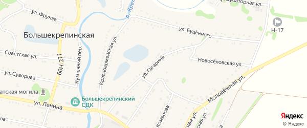 Улица Гагарина на карте Большекрепинской слободы Ростовской области с номерами домов