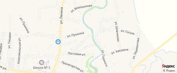 Переулок Почтовый 3 на карте аула Понежукай Адыгеи с номерами домов