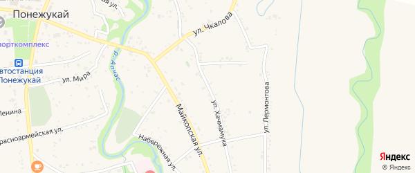 Улица М.Горького на карте аула Понежукай Адыгеи с номерами домов