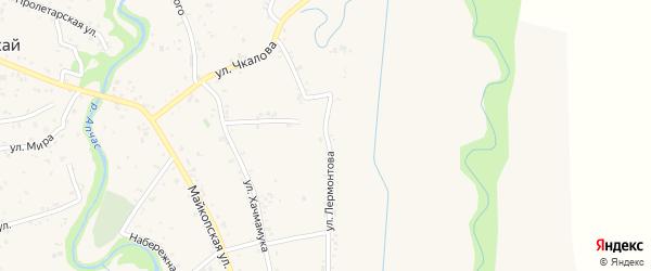 Улица Лермонтова на карте аула Понежукай Адыгеи с номерами домов