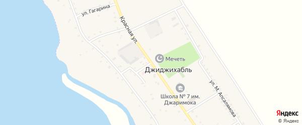 Красная улица на карте аула Джиджихабля Адыгеи с номерами домов