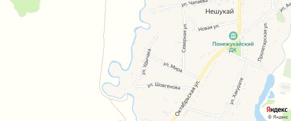 Улица Я.Удычака на карте аула Нешукай Адыгеи с номерами домов