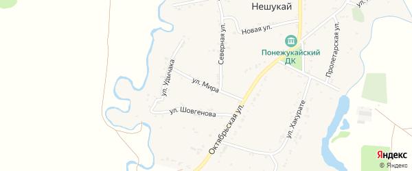 Улица Мира на карте аула Нешукай Адыгеи с номерами домов