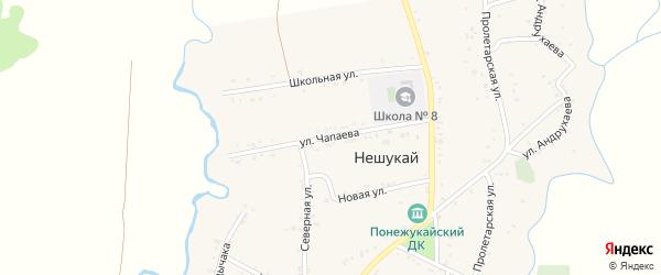 Улица Чапаева на карте аула Нешукай Адыгеи с номерами домов