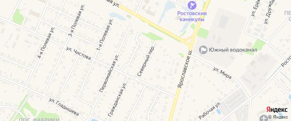 Северный переулок на карте Ростова с номерами домов