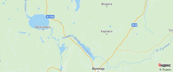 Карта Усть-кубинского района Вологодской области с городами и населенными пунктами