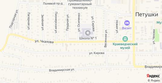 Улица Чкалова в Петушках с номерами домов на карте. Спутник и схема онлайн