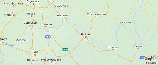 Карта Рыбновского района Рязанской области с городами и населенными пунктами