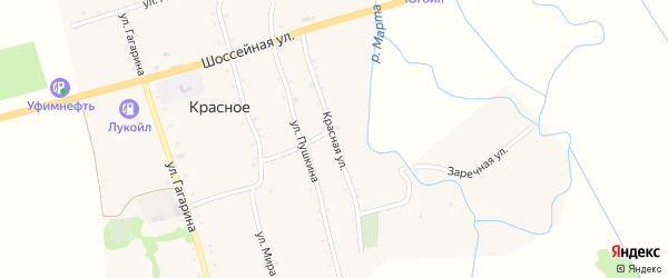 Красная улица на карте Красного села Адыгеи с номерами домов