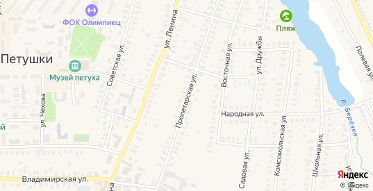 Пролетарская улица в Петушках с номерами домов на карте. Спутник и схема онлайн