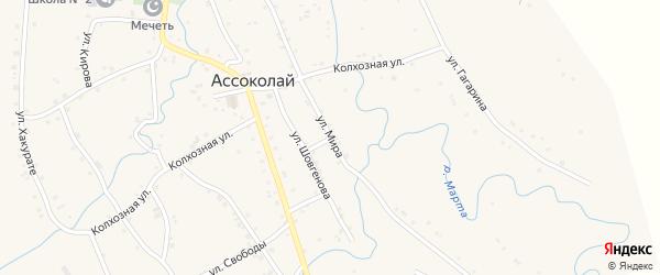 Улица Мира на карте аула Ассоколая Адыгеи с номерами домов