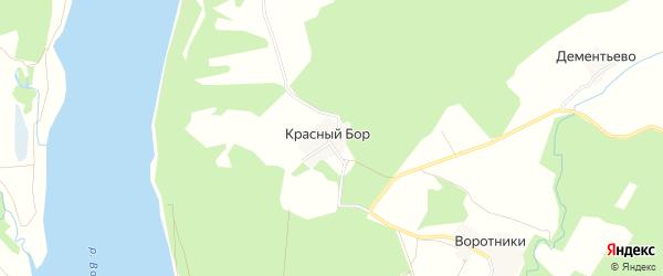 Карта поселка Красного Бора в Ярославская области с улицами и номерами домов