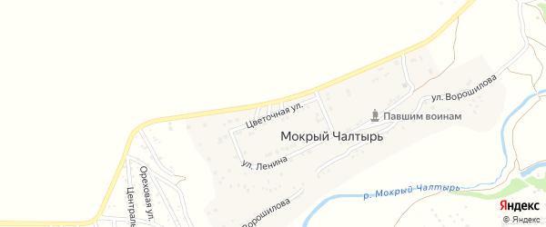Цветочная улица на карте хутора Мокрого Чалтыря Ростовской области с номерами домов