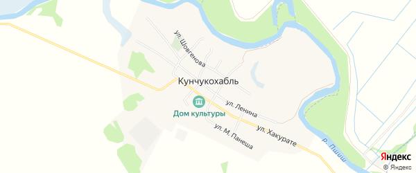 Карта аула Кунчукохабля в Адыгее с улицами и номерами домов