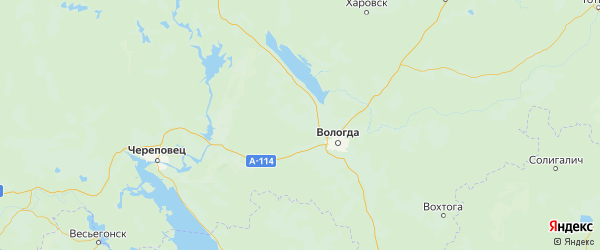 Карта Вологодский района Вологодской области с городами и населенными пунктами