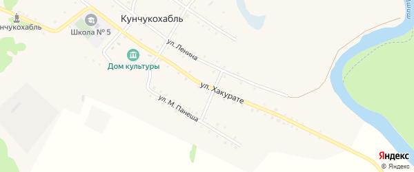 Улица Хакурате на карте аула Кунчукохабля Адыгеи с номерами домов
