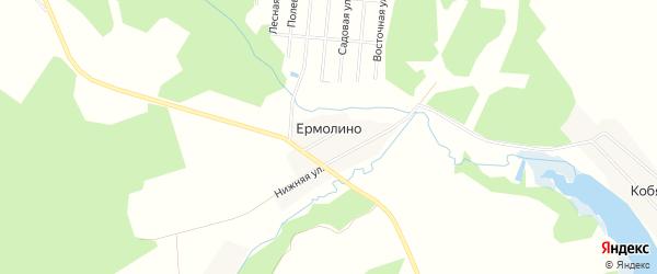 Территория ДНТ Рыбалкино на карте деревни Ермолино Владимирской области с номерами домов