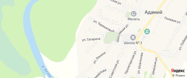 Улица Гагарина на карте Адамия аула Адыгеи с номерами домов