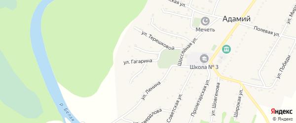 Улица Гагарина на карте Адамия аула с номерами домов