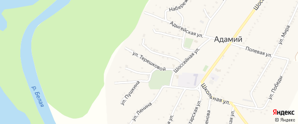 Улица Терешковой на карте Адамия аула Адыгеи с номерами домов