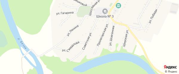 Советская улица на карте Адамия аула с номерами домов