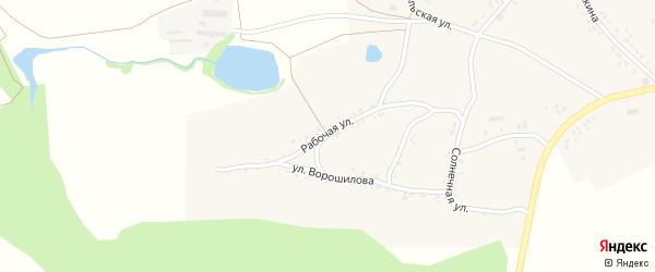 Рабочая улица на карте села Сончино Воронежской области с номерами домов