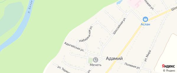 Набережная улица на карте Адамия аула Адыгеи с номерами домов