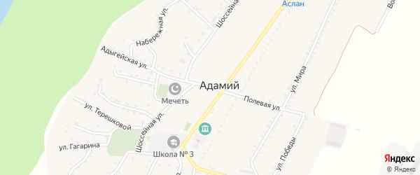 Полевая улица на карте Адамия аула Адыгеи с номерами домов