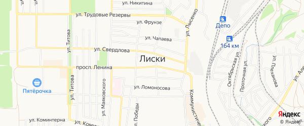 Карта территории Гк Ухтинца города Лисок в Воронежской области с улицами и номерами домов