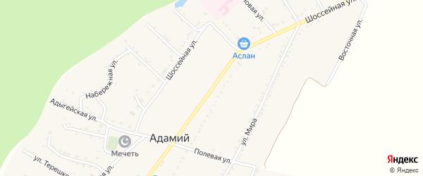 Шоссейная улица на карте Адамия аула Адыгеи с номерами домов
