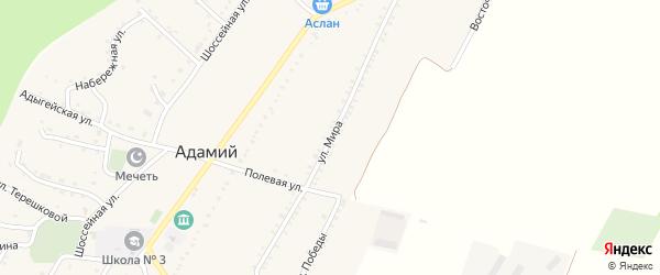 Улица Мира на карте Адамия аула Адыгеи с номерами домов