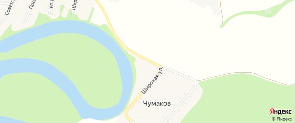 Широкая улица на карте хутора Чумакова с номерами домов