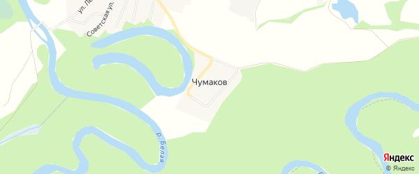 Карта хутора Чумакова в Адыгее с улицами и номерами домов