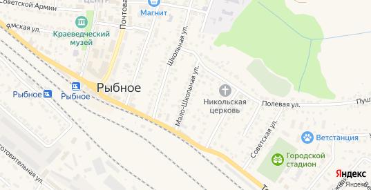 Мало-Школьная улица в Рыбном с номерами домов на карте. Спутник и схема онлайн