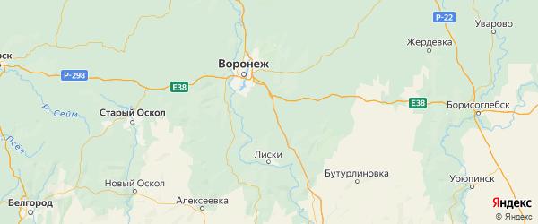 Карта Каширского района Воронежской области с городами и населенными пунктами